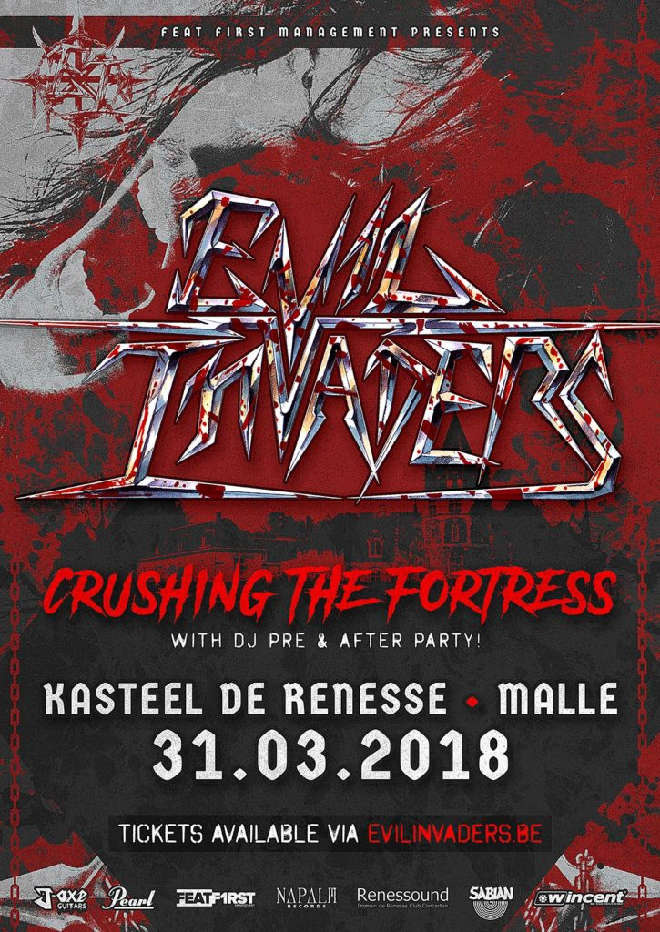 """Evil Invaders """"Crushing the Fortress"""" Event Poster"""